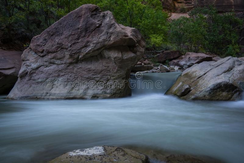 Waterfall Near The Zion Narrows royalty free stock photo