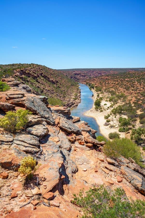 Hiking natures window loop trail, kalbarri national park, western australia 136. Hiking the canyon. natures window loop trail, kalbarri national park, western stock photo