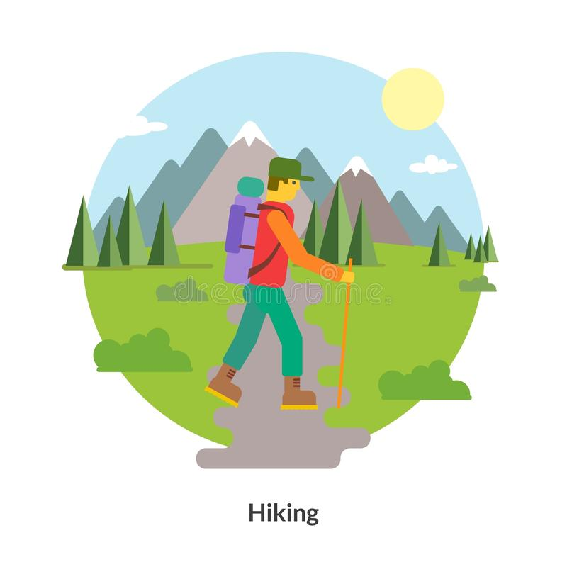 Hiking and outdoor recreation concept stock illustration