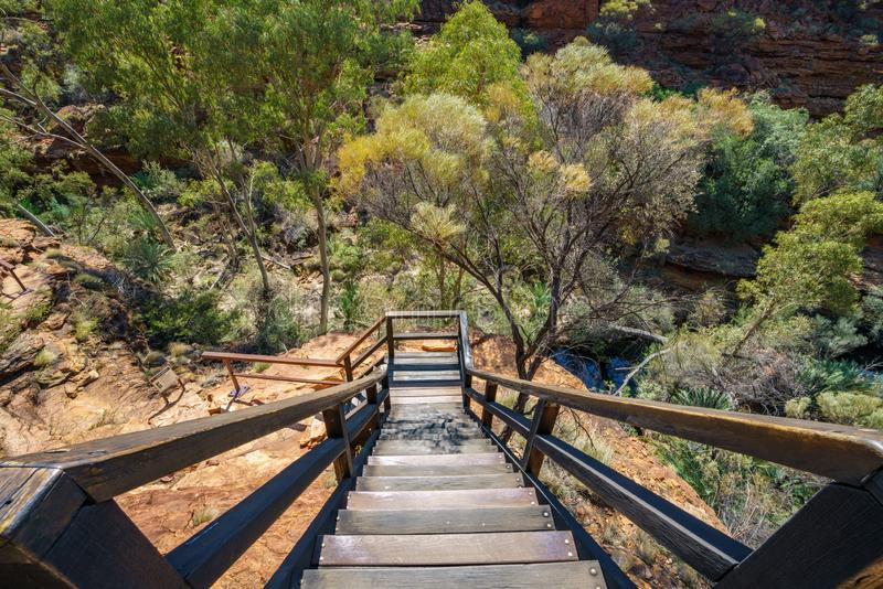 Hiking over the bridge in kings canyon, watarrka national park, northern territory, australia 15. Hiking the bridge in kings canyon on a sunny day, watarrka royalty free stock photos