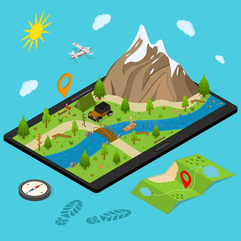 Hiking in a Park Concept 3d Isometric View. Vector stock illustration