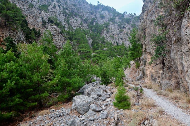 Hiking path Agia Irini Gorge Canyon, Crete, Greece royalty free stock images