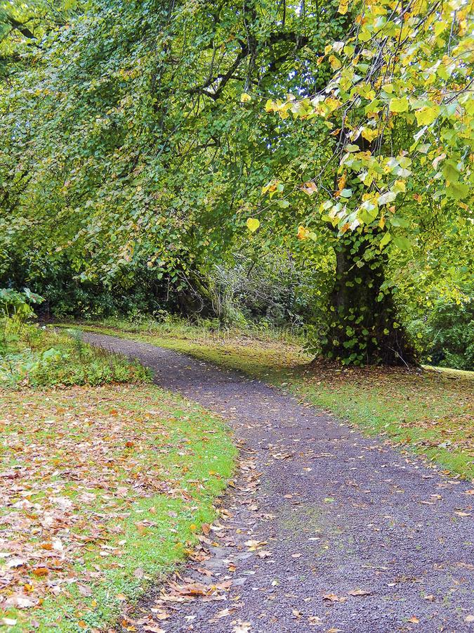 Hiking path. Armadale Castle grounds footpath, United Kingdom stock images