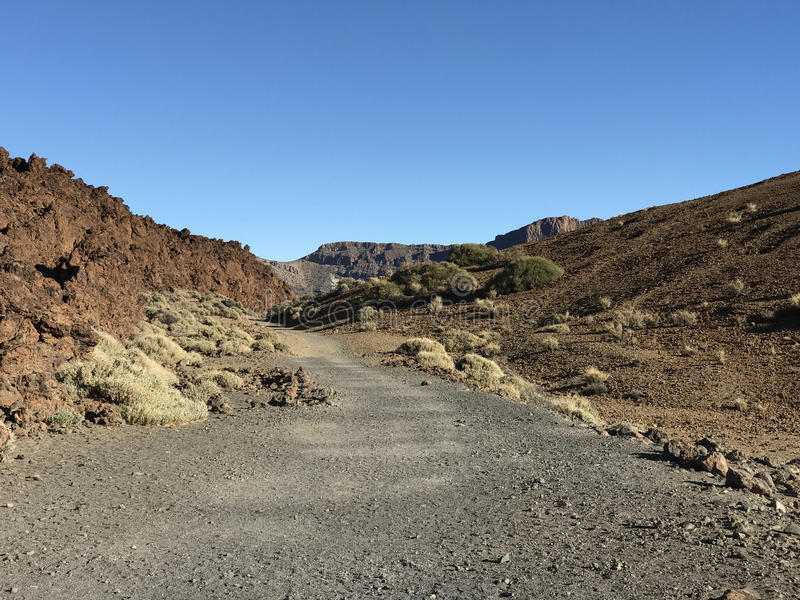 Hiking path. Around Mount Teide a volcano on Tenerife in the Canary Islands royalty free stock images