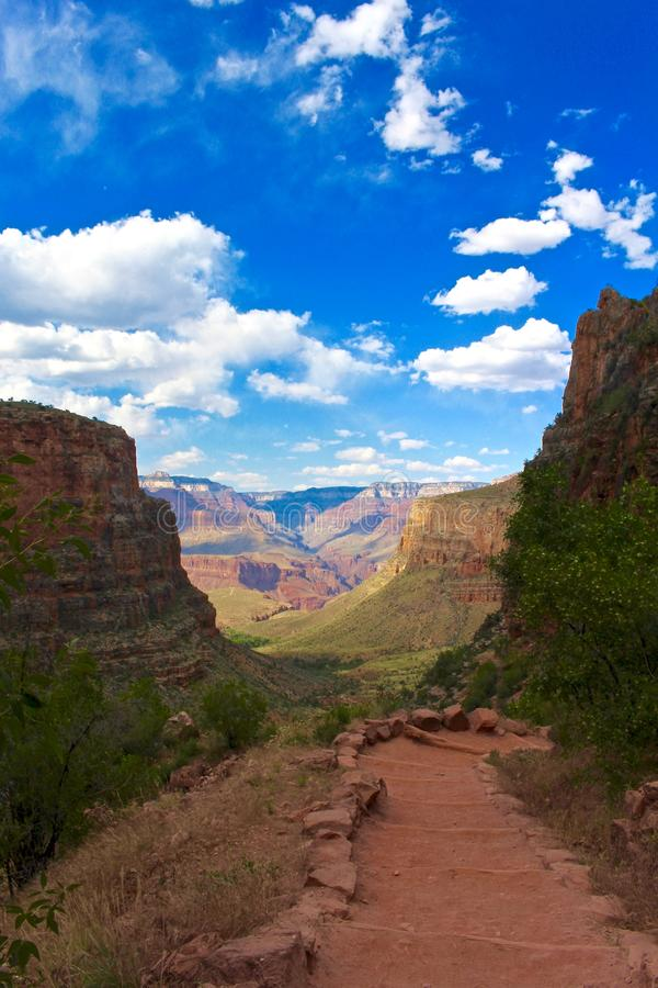Hiking a path in the Grand Canyon royalty free stock photo