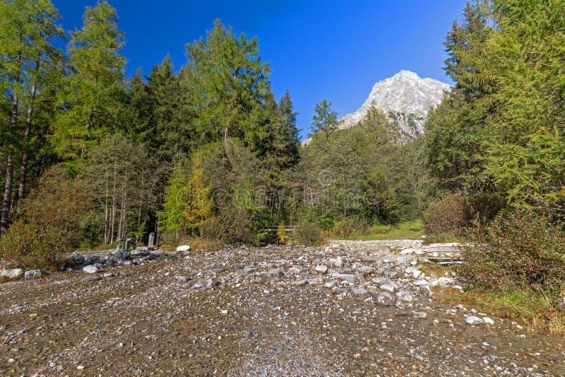 Hiking path at Lake Anterselva, South Tyrol stock image