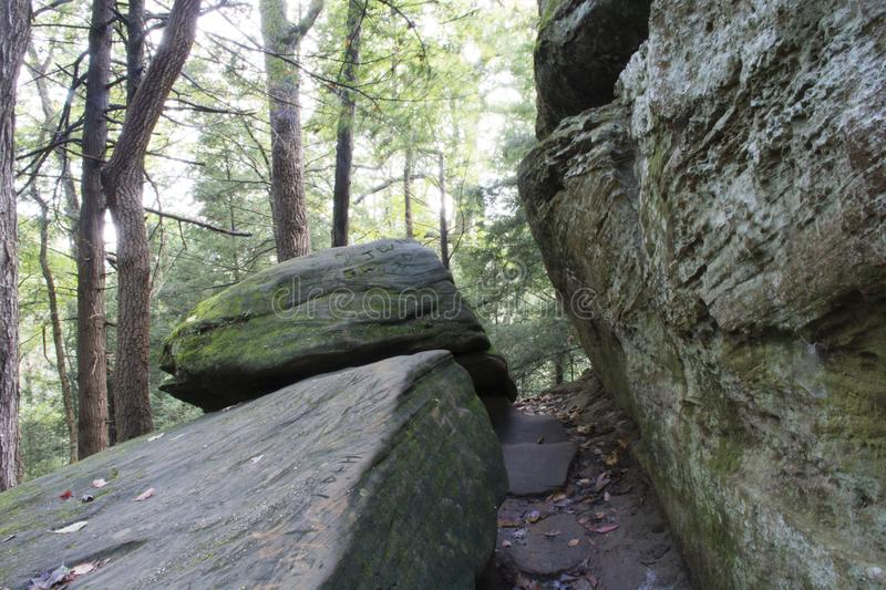 Tight Squeeze, Hocking Hills State Forest royalty free stock photo