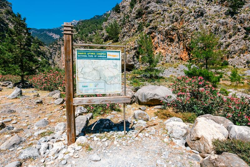 Hiking path in Samaria Gorge in central Crete, Greece. The national park is a UNESCO Biosphere Reserv stock photography
