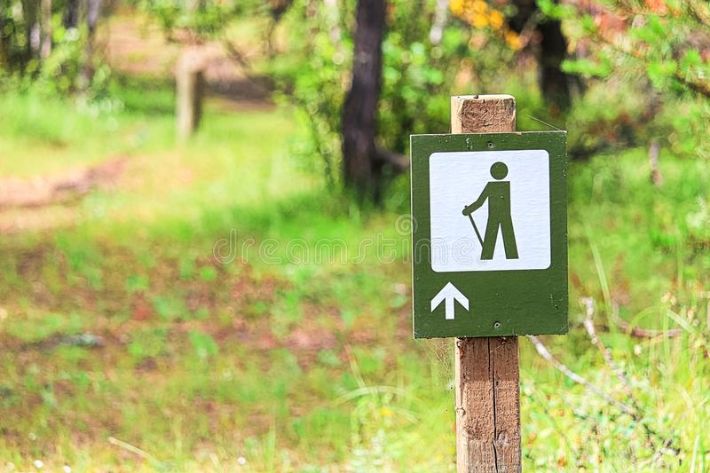 A hiking path sign with a forest in the background.  royalty free stock image