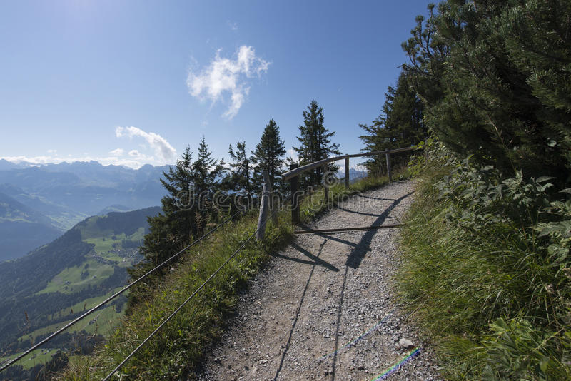 Hiking Path On Top Of The Stanserhorn Switzerland Stock Photo