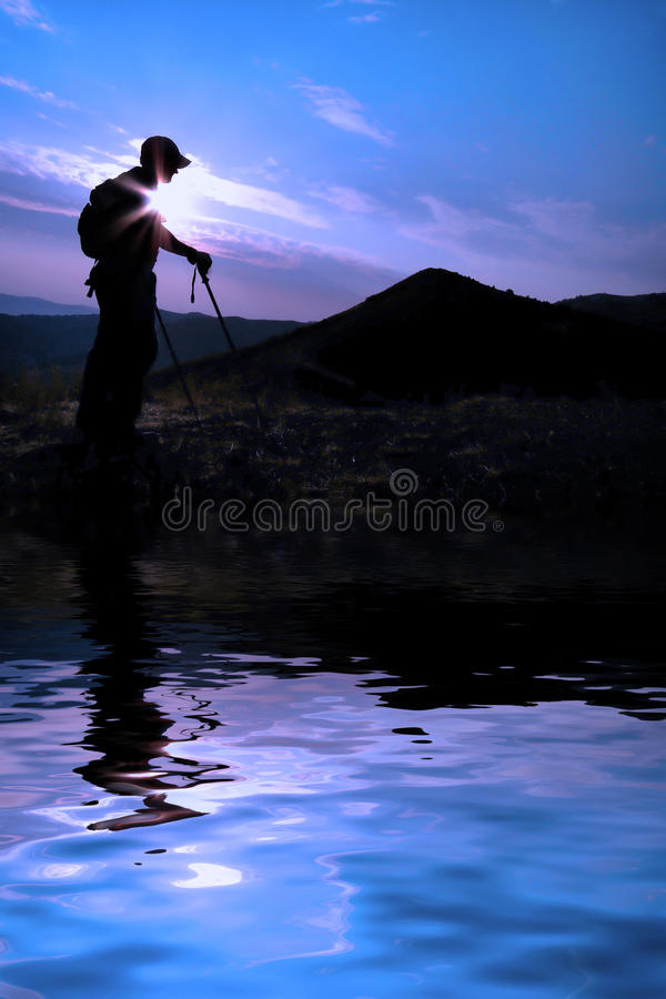 Download Hiking Reflection stock image. Image of mountains, goal - 22930659