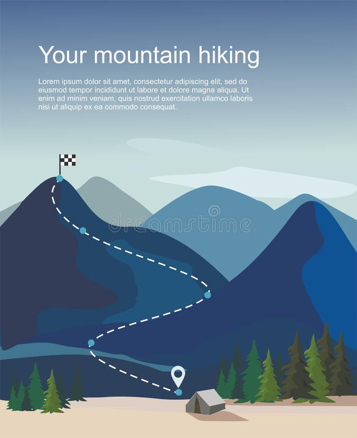 Hiking route infographic. Layers of mountain landscape with fir trees. Vector illustration royalty free illustration