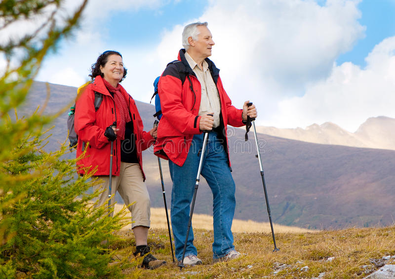 Hiking seniors 11 royalty free stock images