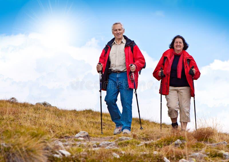 Hiking seniors 20 stock photo