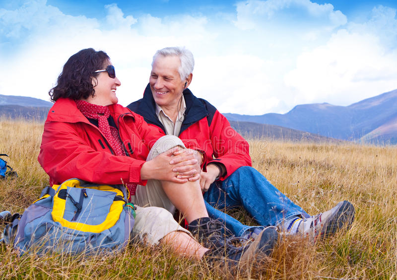 Hiking seniors 24 stock images