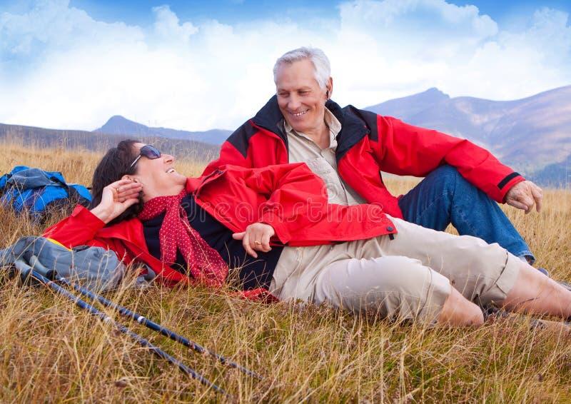 Hiking seniors 25 royalty free stock photography
