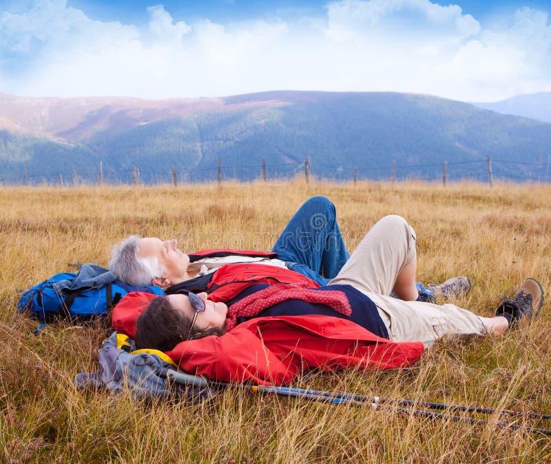 Hiking seniors 27 royalty free stock photography