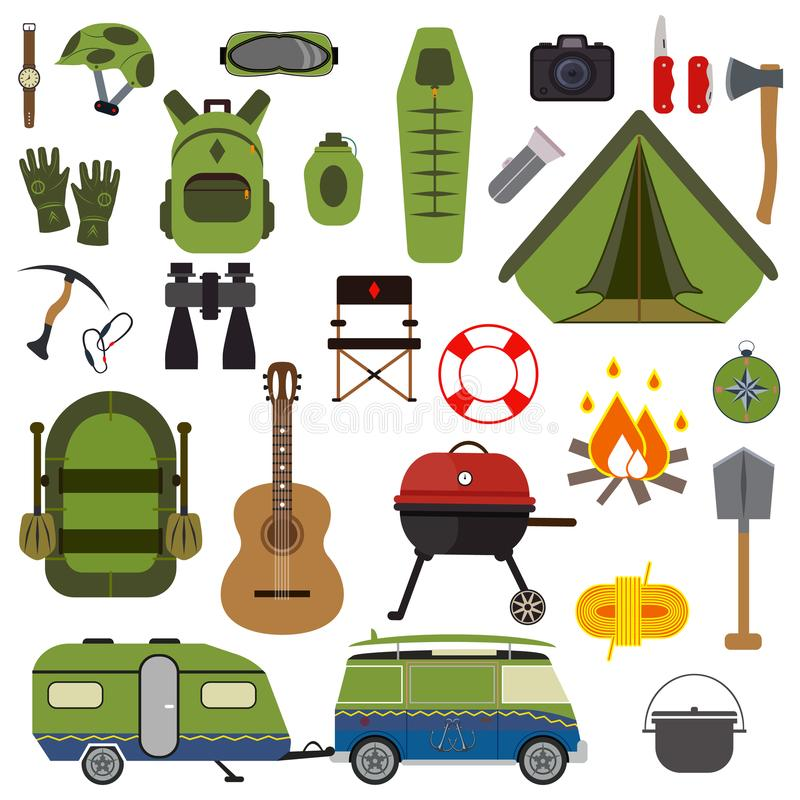 Download Hiking Set Camping Equipment Vector Summer Collection Stock