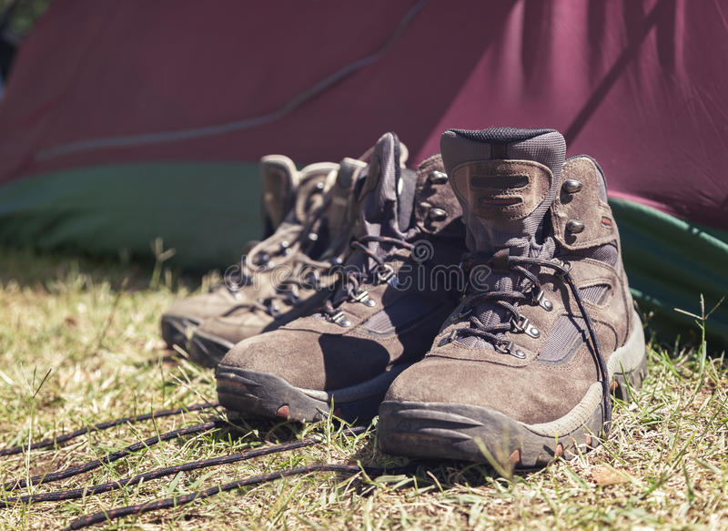 Download Hiking Shoes In Front Of Tent Stock Image - Image: 26328947