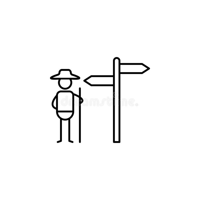 Hiking, signpost icon. Element of people in travel line icon. Thin line icon for website design and development, app development. Premium icon on white stock illustration