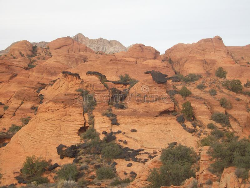 Hiking Snow Canyon, St. George, Utah. A winter afternoon hike in Snow Canyon, St. George, Utah stock photos