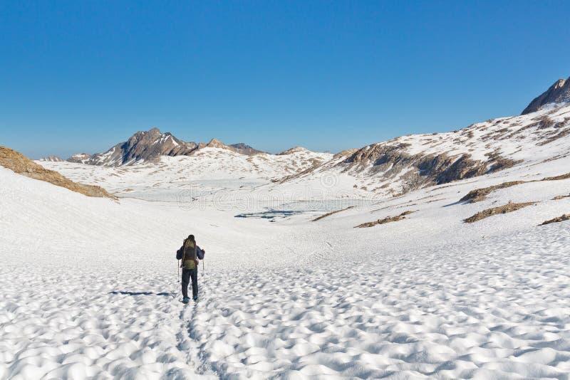 Hiking in Stunning Alpine Scenery. Hiking in the stunning alpine scenery in the Sierra Nevada, California, USA royalty free stock photo