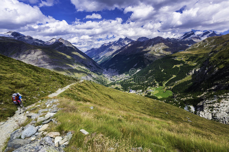 Hiking in the swiss alp. Mountain landscape in the swiss alp near Zermatt and the Matterhorn royalty free stock photos
