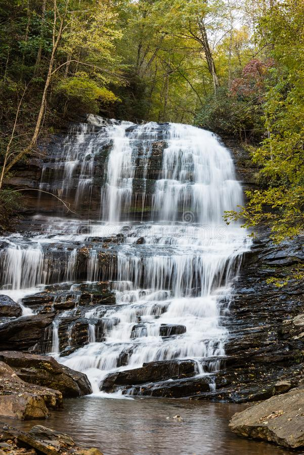 Pearson North Carolina waterfall with framed trees. Hiking through to see Pearson waterfall in North Carolina is quiet and peaceful royalty free stock images