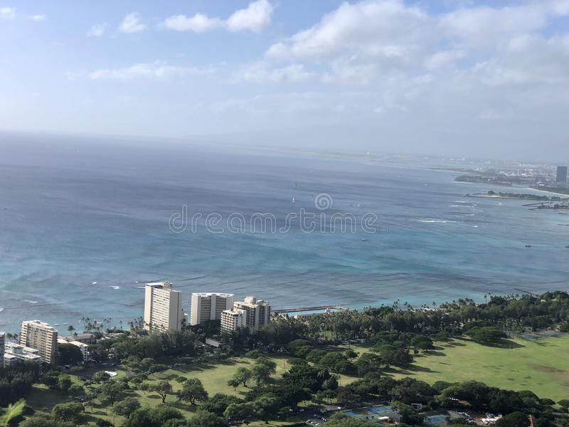 Looking out at beautiful Honolulu Hawaii royalty free stock photography
