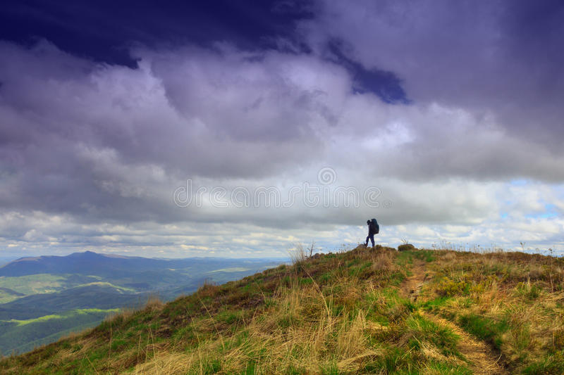 Hiking on the top of the mountain. royalty free stock photography