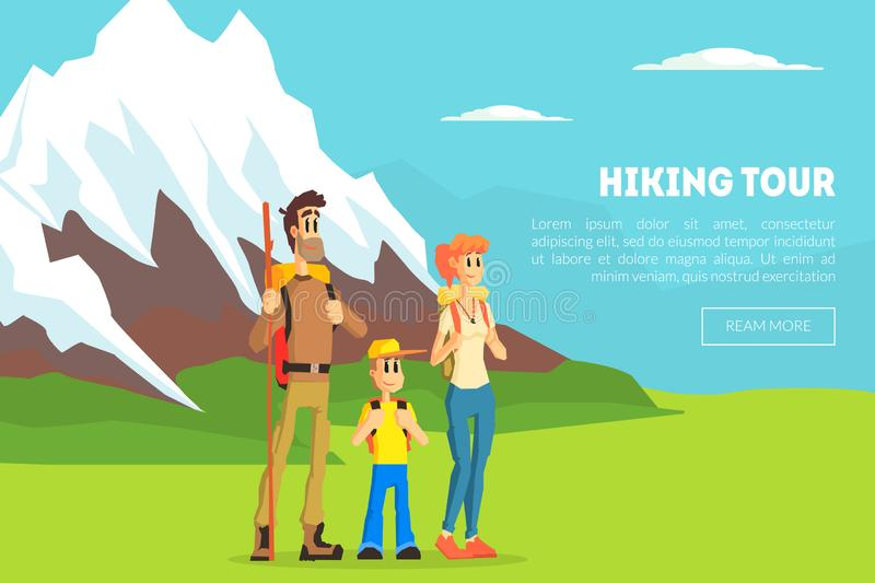 Hiking Tour Banner Template, Happy Family Travelling Together at Mountains, Design Element Can Be Used for Landing Page. Mobile App, Wallpaper Vector stock illustration