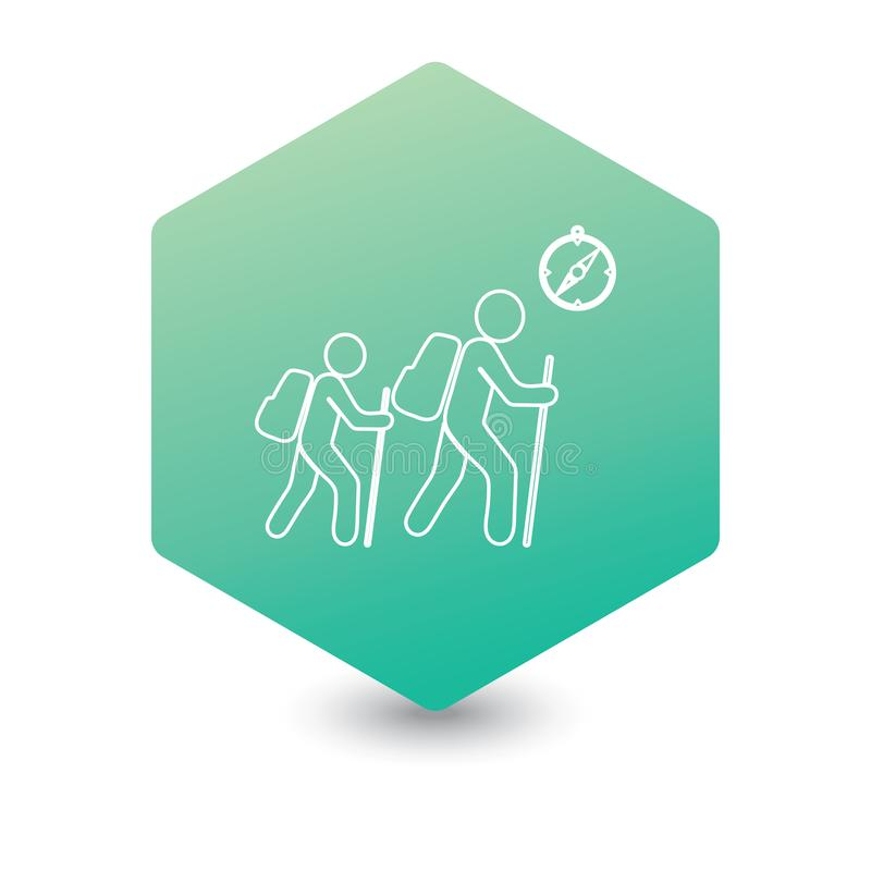Hiking tourists with compass icon royalty free illustration