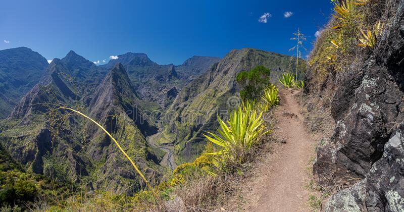 Hiking trail along the crater Cirque de Mafate near Cape Noir La Reunion royalty free stock image