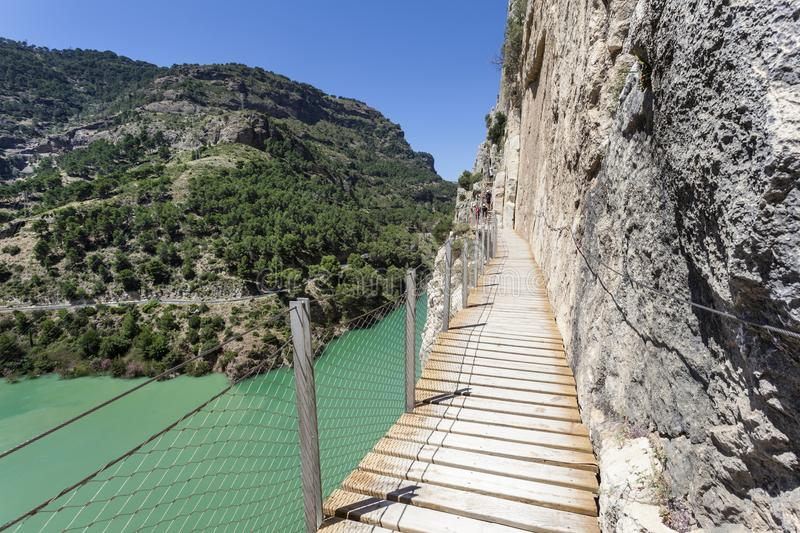 Hiking trail Caminito del Rey. Malaga province, Spain. Hiking trail `El Caminito del Rey` - King`s Little Path, former world`s most dangerous footpath wich was stock photo
