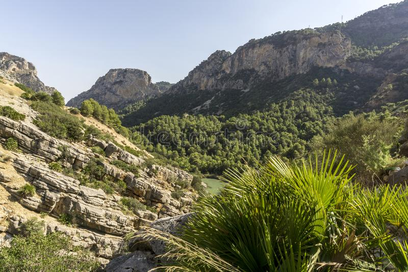Hiking trail Caminito del Rey.View of Gorge of Gaitanes in El Ch. Orro. Malaga province. Spain royalty free stock images