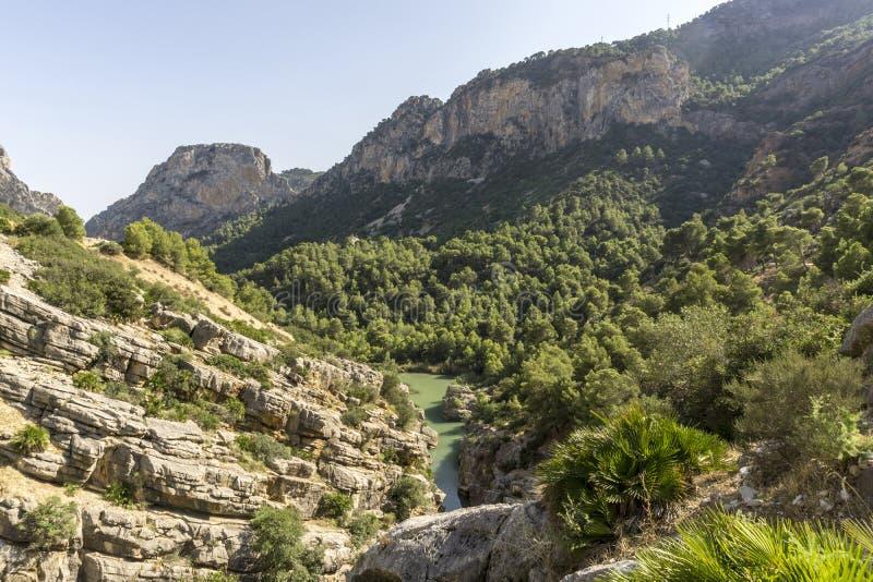 Hiking trail Caminito del Rey.View of Gorge of Gaitanes in El Ch. Orro. Malaga province. Spain stock photos