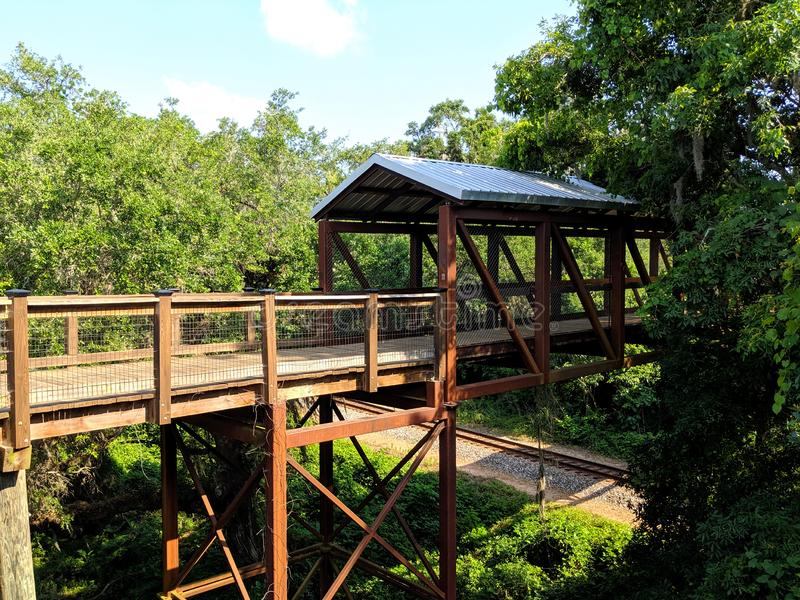 Hiking Trail Canopy Bridge in Tallahassee Florida. An old style canopy bridge for hiking on the Lafayette Heritage Trail in Tallahassee, Florida stock image
