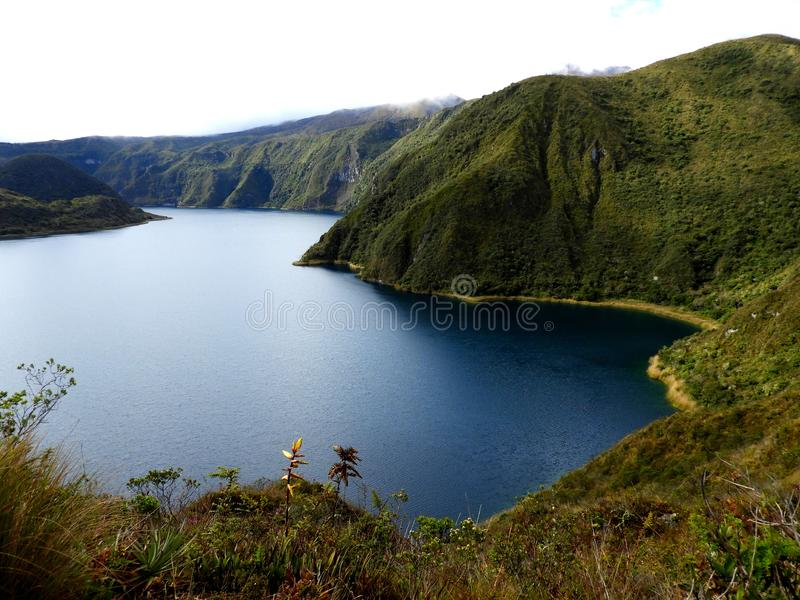 Cotacachi crater lake, Ecuador. Hiking trail in the Cotacachi Cayapas nature park in Ecuador, South America. Ecological reserve, Cotacachi crater lake, beautiful royalty free stock images