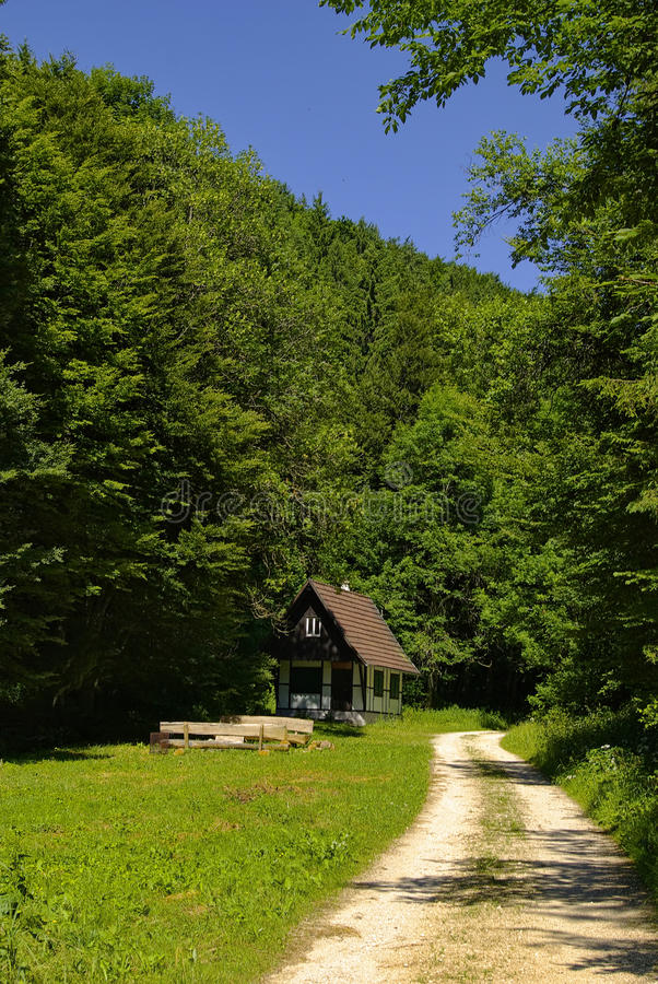 Download Hiking Trail With Hunting Lodge Stock Image - Image: 18040607