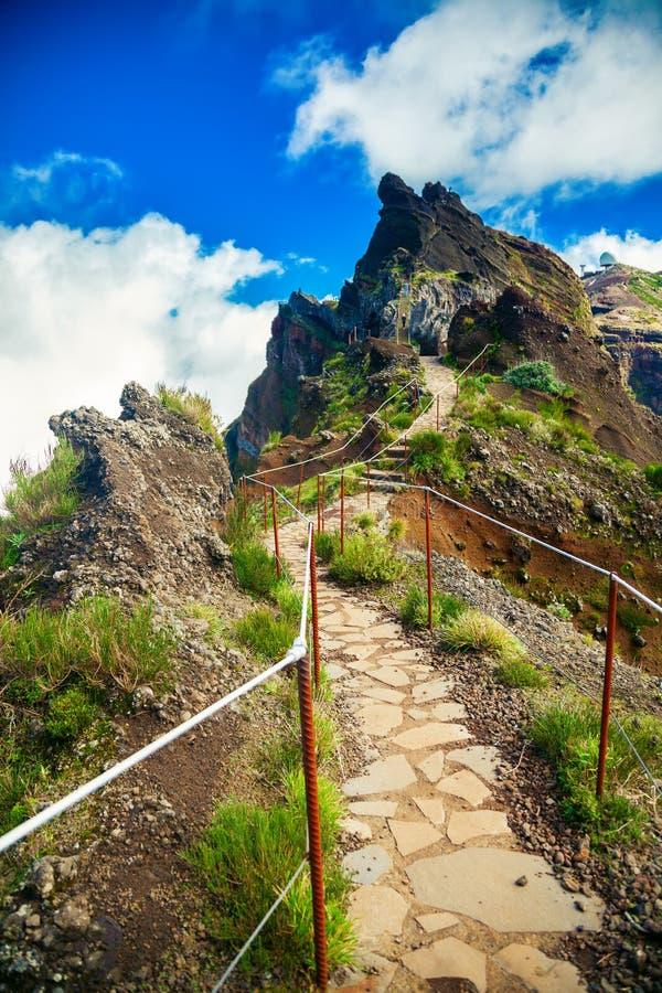 Hiking trail from mountain Pico do Arieiro stock image