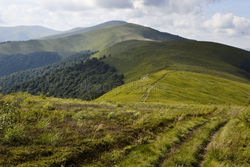 Hiking trail on the mountain range stock image