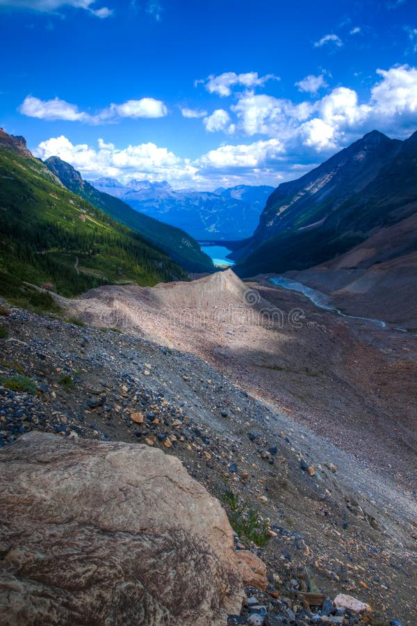 A hiking trail near Lake Louise in Banff National Park royalty free stock image