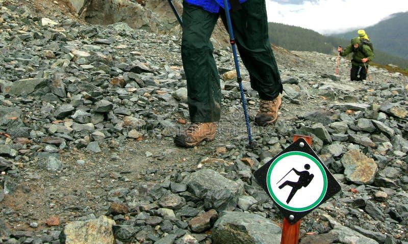 Hiking Trail in the Rain stock photos