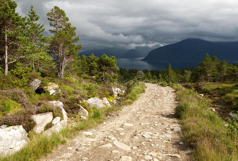 Hiking trail in Rollonhytte Vardane stock photo