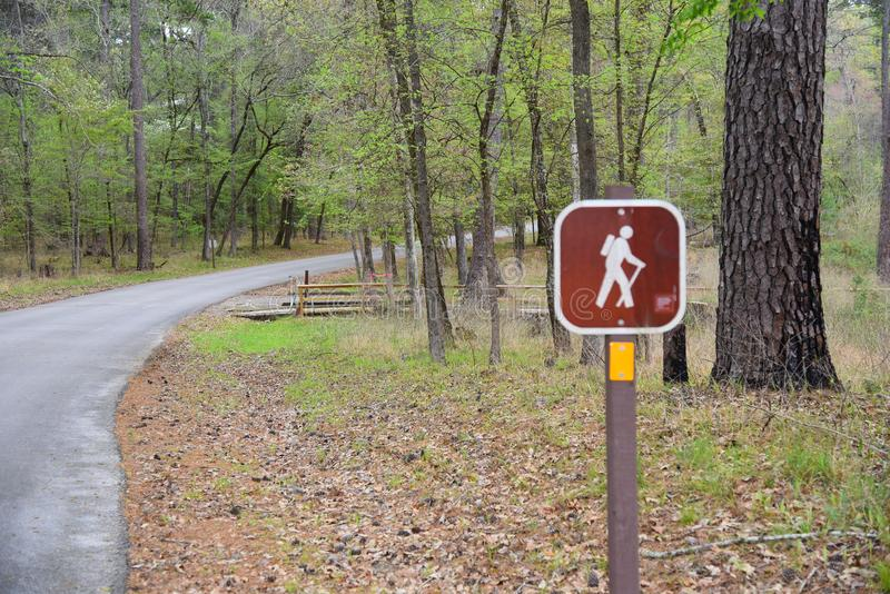 Hiking trail sign in Piney Woods, Texas. Hiking trail sign in National Forest in Piney Woods, east Texas royalty free stock photos