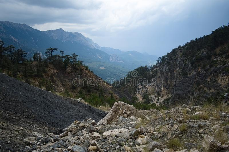Hiking trail in the Turkish mountains on the Lycian Way stock photo