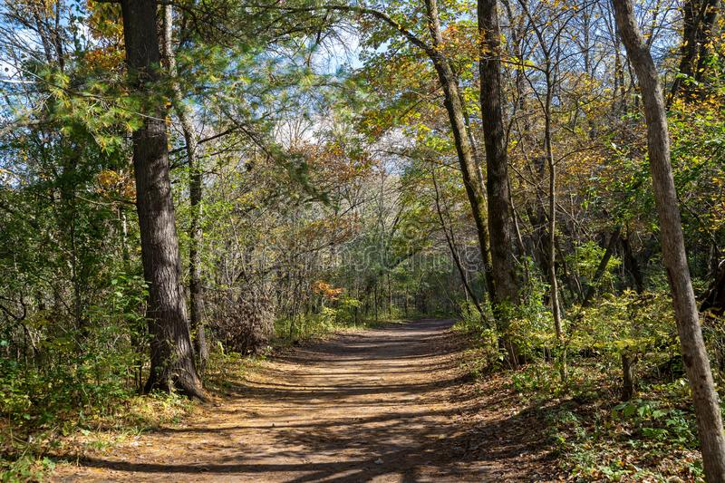 Hiking trail in Willow River State Park in autumn, in Hudson Wisconsin.  royalty free stock photos