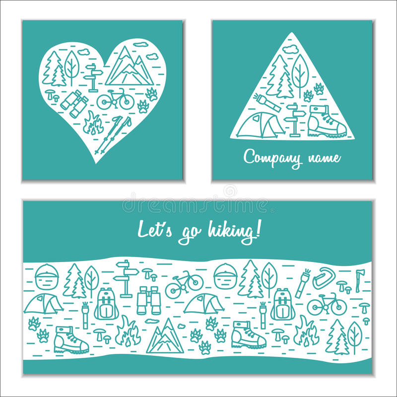 Hiking and travel outdoor concept. Set of vector branding cards royalty free illustration