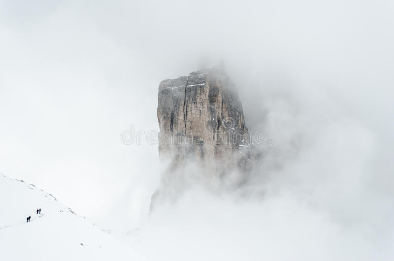 Hiking the Tre Cime in winter royalty free stock photography