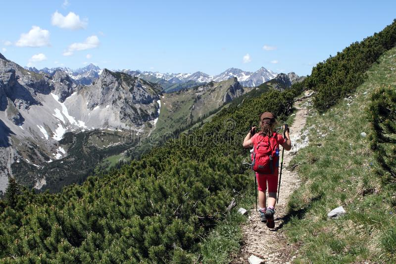 Hiking trekking child in the Alps stock images
